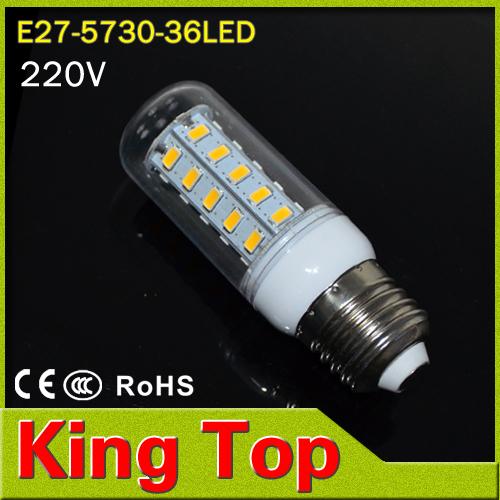 KingTop Brand E27 led lamps light 220V Corn Bulbs 5730 36Leds  5730SMD max 11W Candle crystal chandelier lighting  6Pcs/LoT(China (Mainland))