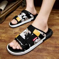 Summer Men Slippers Flats Platforms Buckle Strap Men Sandals Platforms Slippers Fashion Korean Print Flowers Shoes