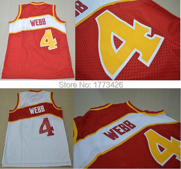Good Quality Atlanta #4 Spud Webb Jersey Wholesale Stitched Logo Rev 30 Basketball jersey Cheap Throwback Basketball Jersey(China (Mainland))