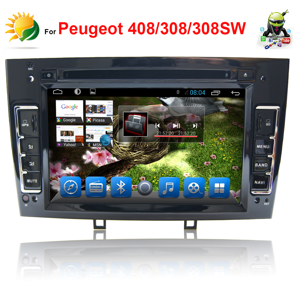 2 din android car radio bluetooth for Peugeot 408/308/308SW dvd gps navigation stereo MP3 touch screen headrest car dvd player(China (Mainland))