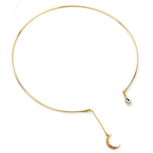 Уникальный чешские золотой сплав классической луна ожерелье 2016 мода крутящий момент ...
