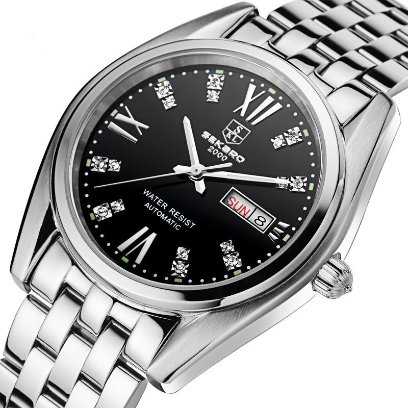 Sekaro new waterproof night light diamond watch men's automatic mechanical watch male calendar steel bracelet table top brand(China (Mainland))