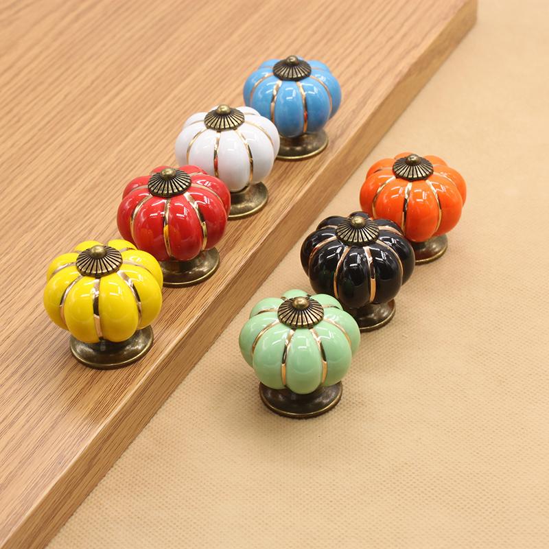 Pumpkin Dresser Knob Drawer Pulls Handles Ceramic Knobs Cabinet Knobs /Colorful Kitchen Furniture Knob with Antique Bronze base<br><br>Aliexpress