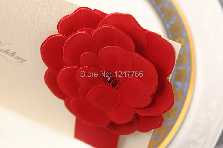 25 sets/lot Free shipping wedding invitation card big red flowers Gorgeous and noble high quality Classical Chinese style(China (Mainland))