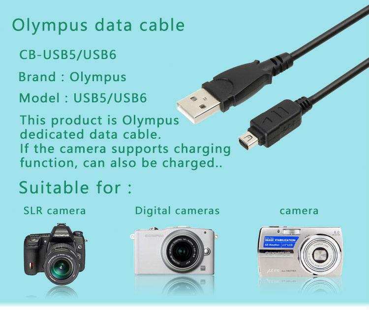 CB-USB5 CB-USB6 12 Pin USB Data Cable for Olympus Pen E-P1 E-P2 E-P3 E-P5 E-PL1 E-PL3 E-PL5 E-PM1 E-PM2 E-M5 Camera