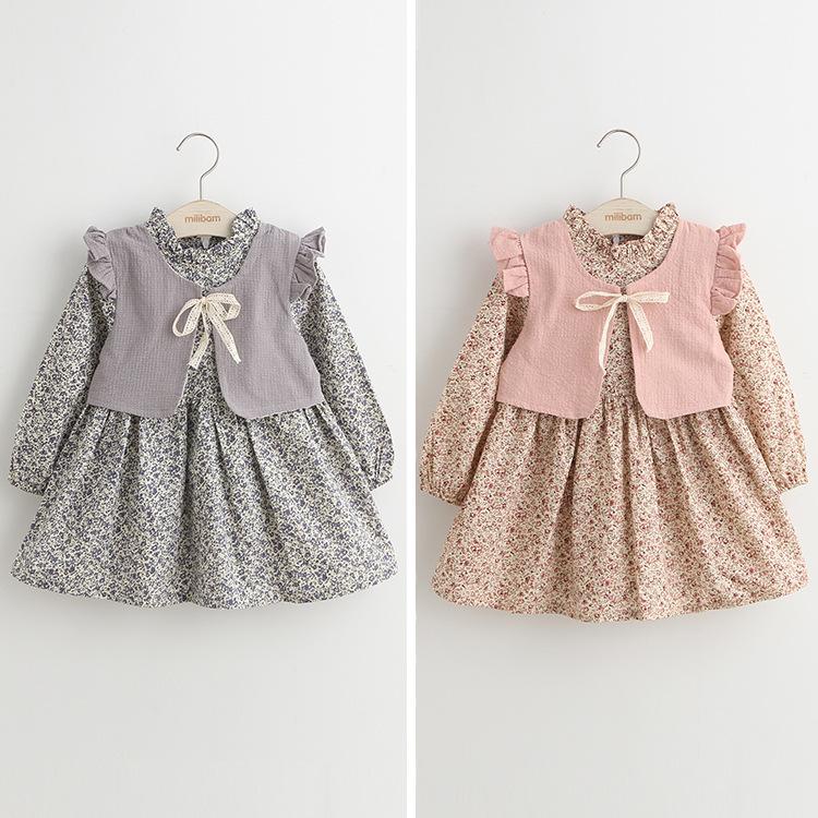 Hu sunshine wholesale New 2016 spring Kids Girls floral dress vest  fake-two pieces<br><br>Aliexpress