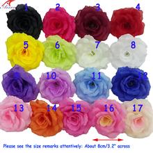 35 unids/lote 8 cm hechos a mano de seda Rose cabeza de flores del arte de DIY Artificial flor de la boda suministros partido Babyshower decoración(China (Mainland))