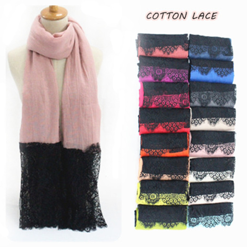 2016 Luxury Black lace edges Scarf plain solid women shawl floral lace scarves Cosy cotton viscose wrap muslim head scarfs hijab(China (Mainland))