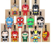 Free shipping 1pcs popular luggage tags Comics Heroes Batman Flash Hulk suitcase bag tag(China (Mainland))