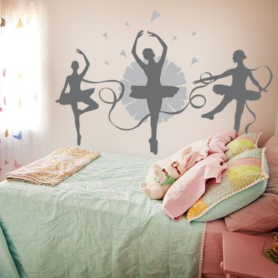 2015New Fashion Dance music child real ballet girl wall sticker Ballet room wall decor school wall decoration Sport wall decals(China (Mainland))