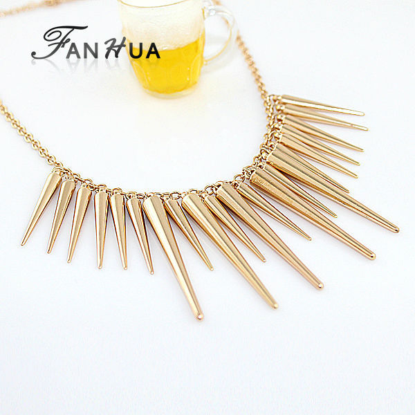 Collares 2015 Pendant Necklace Gold Silver Color Spike Steampunk Maxi Necklaces Pendants New Fashion Bijoux Women(China (Mainland))