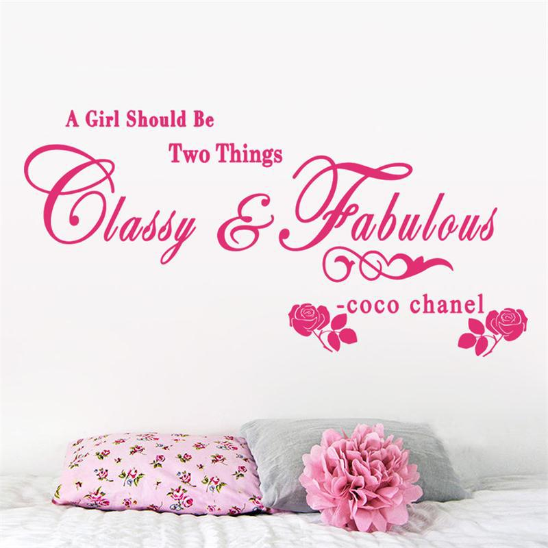 8380 1.5 A girl should be Classy and Fabulous quote wall stickers Rose vinyl home decoration wall sticker adesivo de parede
