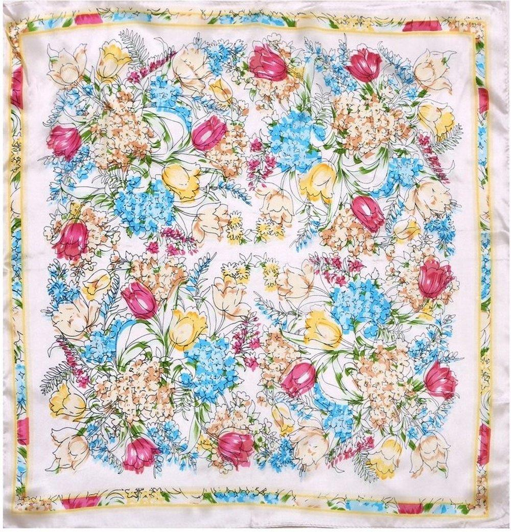 Summer Style Thin 50 * 50cm Women Fashion Flower Floral Pattern Design REAL SILK Square Scarf Wholesale ZS67(China (Mainland))
