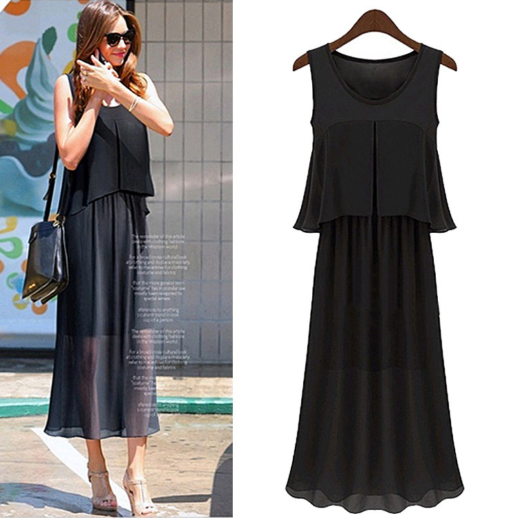 Europe and the United States women's 2015 New Cool Summer Dress Chiffon sleeveless dress dress Europe holiday two(China (Mainland))