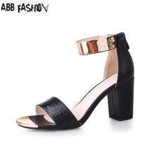 2016 Summer Sandals Women Crocodile Grain OL Style Platform Square High Heels PU Ankle Strap Woman Shoes Plus size 30- 43(China (Mainland))