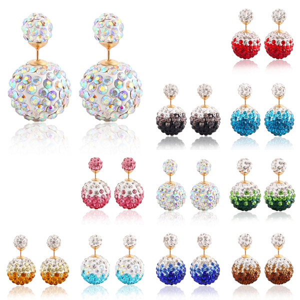 Hot Sale Alloy Gold Plated Shiny Crystal Colorful Ball Double Beads Stud Earrings For Women brincos para as mulheres(China (Mainland))