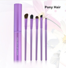 Purple Brand New Professional 5 pcs Makeup Brush Set tools Toiletry Kit Wool Brand Eyes Shadow Make Up Brushes Set Case