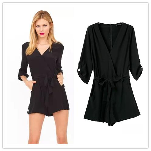 2015 spring new Women fashion laced waist half sleeve V neck black jumpsuit - Chic Classic Store store