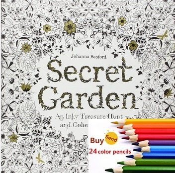 Secret Garden An Inky Treasure Hunt and Coloring Book For Children Adult Relieve Stress Kill Time Graffiti Painting Drawing Book(China (Mainland))