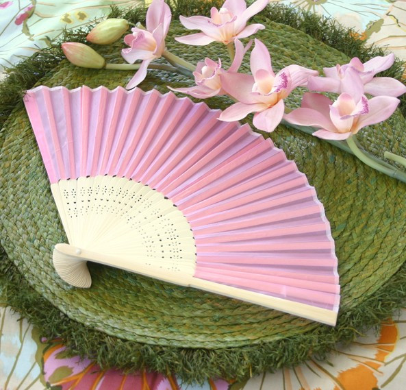 60pcs /lot Plain solid color Silk Bamboo Fan Folding Hand fan Wedding Favor party gift H110w(China (Mainland))