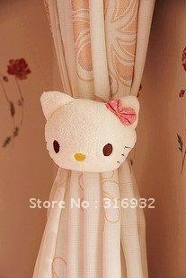 C2 Cute hello kitty Plush Curtain Buckle, good qualitiy, 1 pair