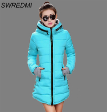 Women's Jacket Winter 2016 New Medium-Long Down Cotton Parka Plus Size Coat Slim Ladies Casual Clothing Hot Sale(China (Mainland))