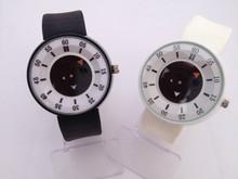 Aceite. único círculos superpuestos puntero. reloj de cuarzo de silicona, ocio ladies watch. reloj de pulsera de los deportes exterior