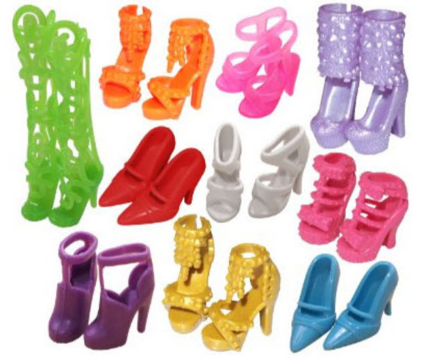 10pairs/lot Fashion Colorful Doll Accessories Shoes Heels Sandals For Barbie Dolls Best Gift For Girl Baby Toys Free Shipping(China (Mainland))