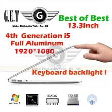 4th Generation Intel I5 13.3 Laptop notebook computer with 7000mAh battery 4GB 128GB SSD ultrabook 1920*1080(China (Mainland))