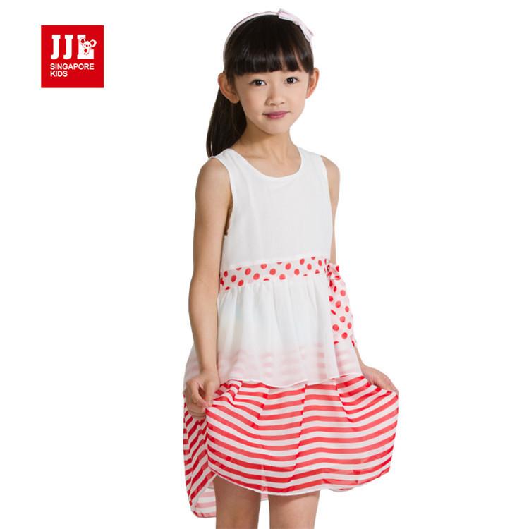 2015 summer hot sale baby girls fashion dress little girls striped dress girls chiffon clothing GXQ51223(China (Mainland))