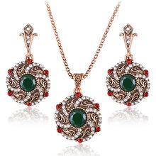 מדהים טורקיה כלה תכשיטי סטים לנשים בציר מראה אדום שרף שרשרת עגילי סט זהב-צבע פרח אהבת Bijoux(China)