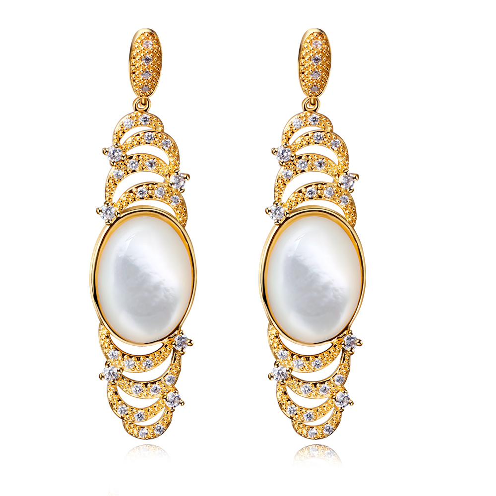 Gold plated earrings statement dangle black gold plated earring findings Large Cubic Zirconia Micro Pave Setting Bridal Wedding(China (Mainland))