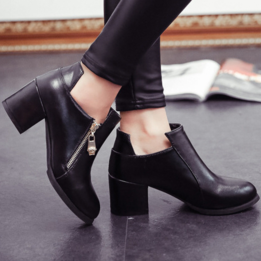 Fashion Women S Thick Square Heels Ankle Boots Sexy Zipper Boots