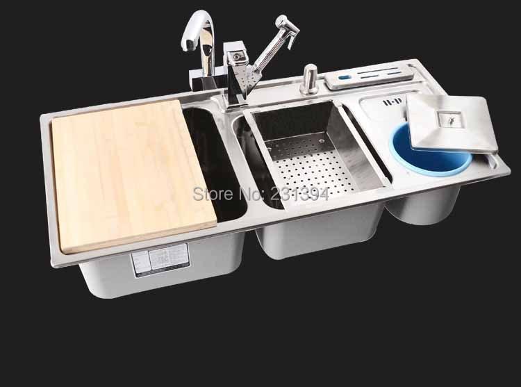 Triple Bowl Sus304 Stainless Steel Kitchen Sinks Pia Kichen Sink With Sus304 Stainless Steel