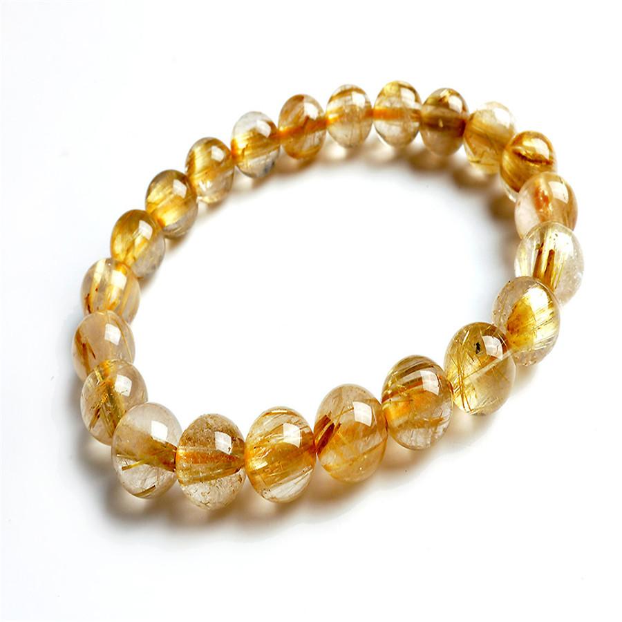 Summer Style Natural Yellow Gold Titanium Rutilated Quartz Round Crystal Beads Women Lady Stretch Fashion Charm Bracelet<br><br>Aliexpress