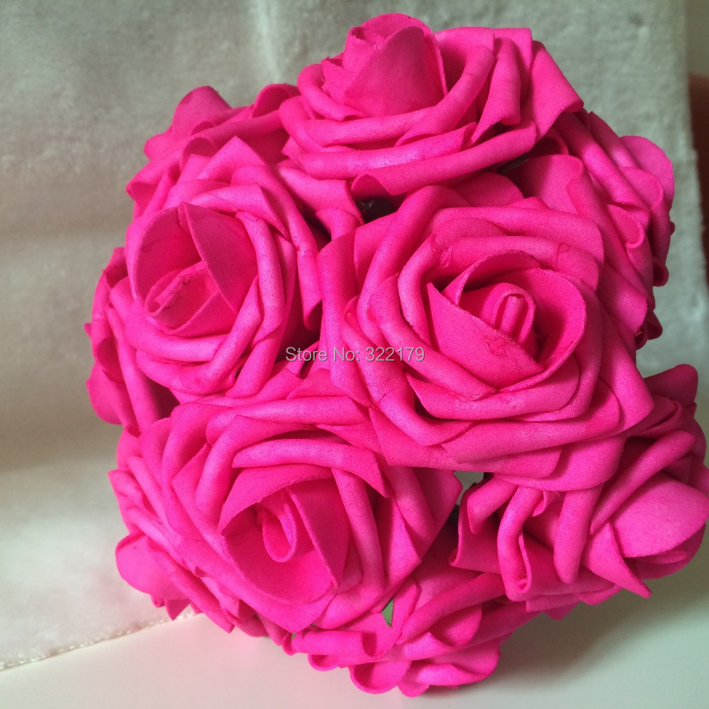 2015 New Hot Pink Brides Bouquet Flowers Artificial Fuschia Rose Wedding Floral Arrangement Bridal Posy Flowers Free Shipping(China (Mainland))