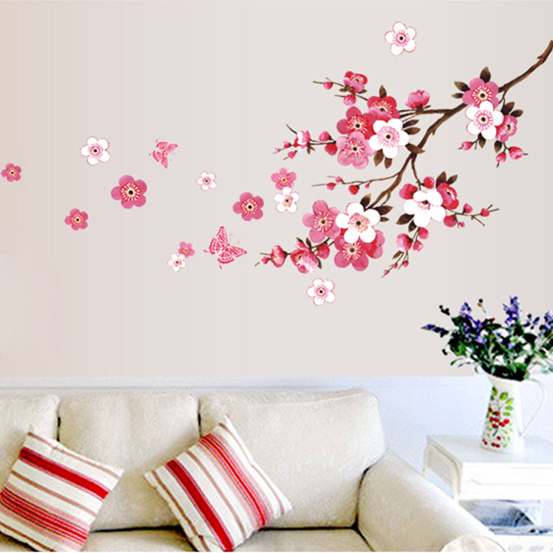 120x50cm Cherry Blossom flower Wall Stickers Waterproof Background Wall Sticker 739 Decors Murals decals for Bedroom(China (Mainland))