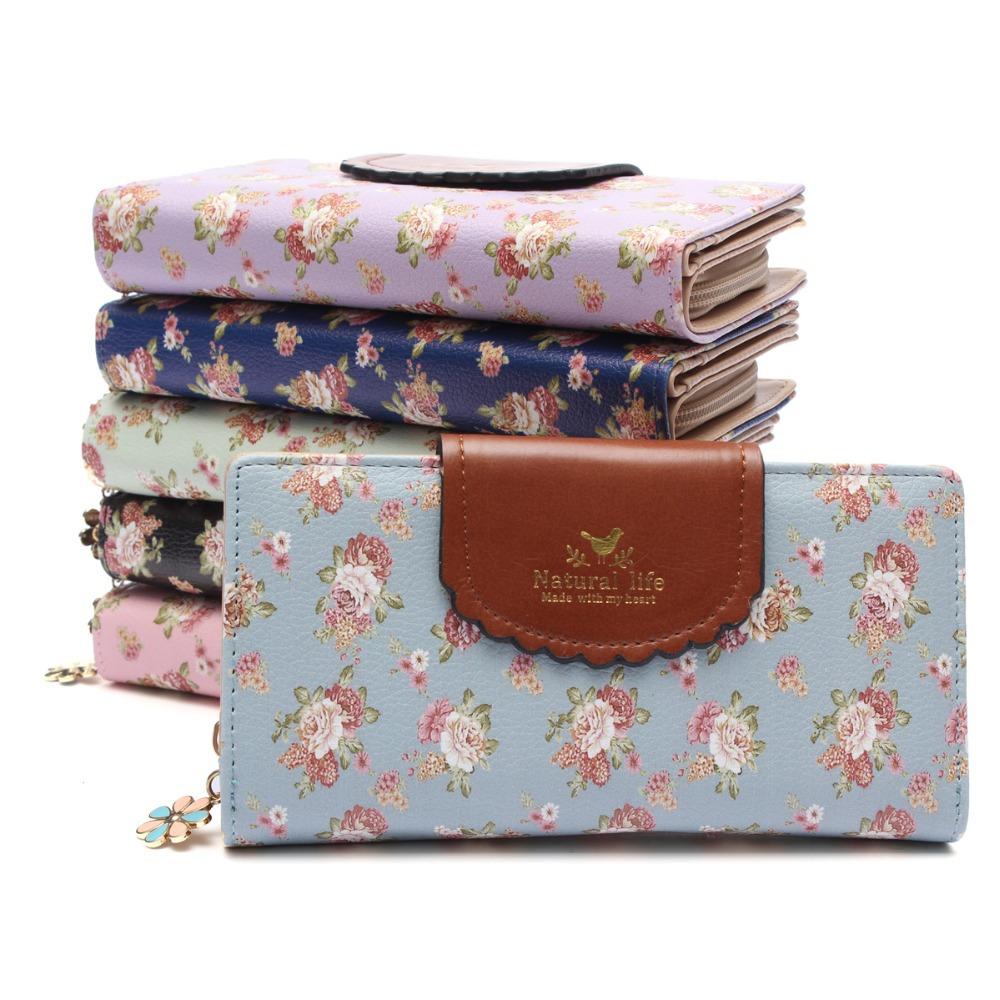 Гаджет  New Fashion Women Leather Long Wallet Korea Fresh Style Multi-colors Small Flower Zipper Purse Floral Wallets Bag Hasp Opened None Камера и Сумки