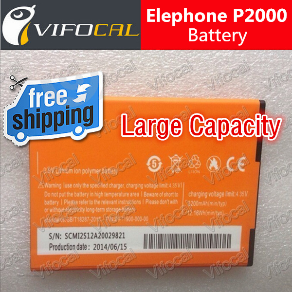 Elephone P2000 Battery Large 3200mAh In Stock 100 Original for elephone p2000c Smart Mobile Phone Free
