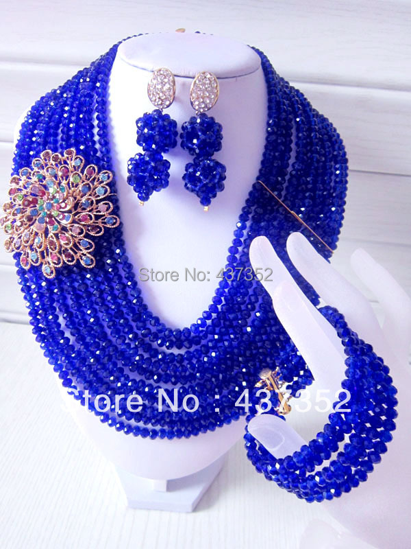 New Royal Blue Crystal Nigerian African Wedding Beads Necklace Bracelet Clip Earrings Jewelry Set CPS-193<br>