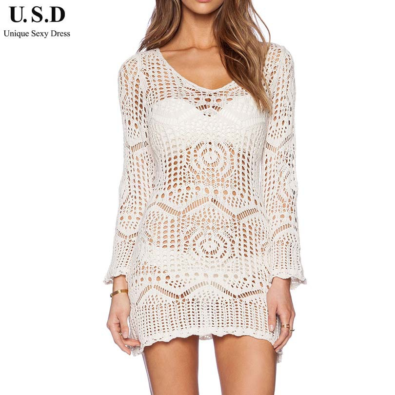 Crochet Swimsuit : New Sexy Bathing suit Cover ups White Crochet Beachwear Swimsuit Cover ...