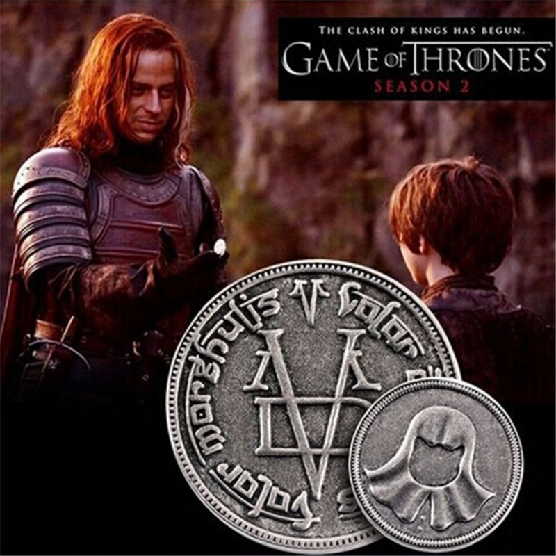 2017New fashion Game Of Thrones The coin A Song of Ice and Fire Faceless Man Coin with gift bag movie jewelry Coin badgesxl17(China (Mainland))