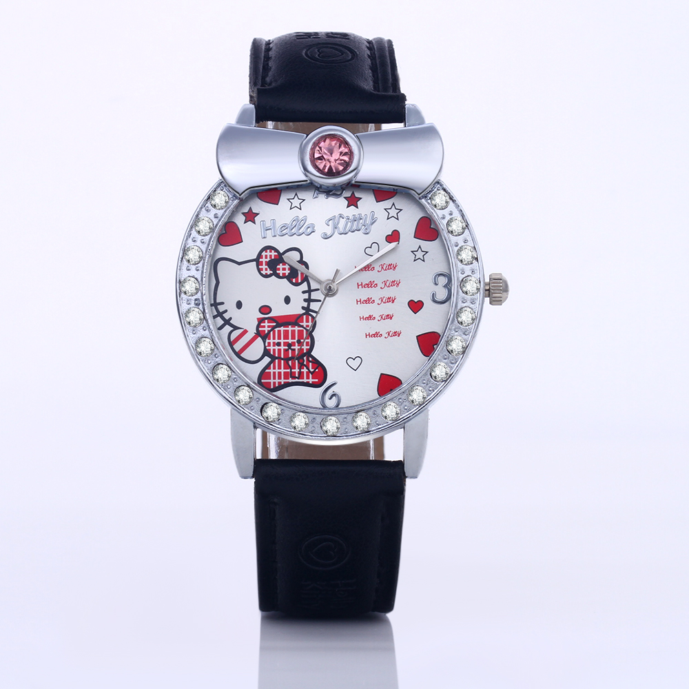 2016 Hello Kitty watch Lady's children WristWatches five pointed star decorate Dial Diamond Leather straps hellokitty watches(China (Mainland))