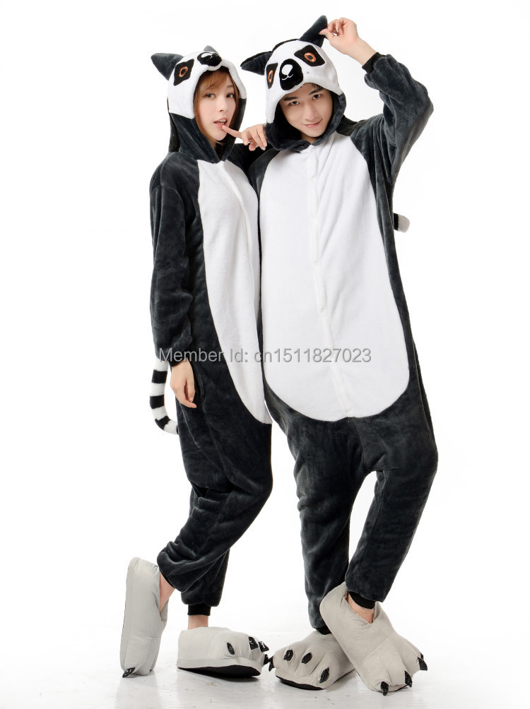 Fashion Hot Humorous Lemur Unisex Adult Animal Party Pajamas Long Tail Monkey Cosplay Costumes Christmas Gift All In One(China (Mainland))