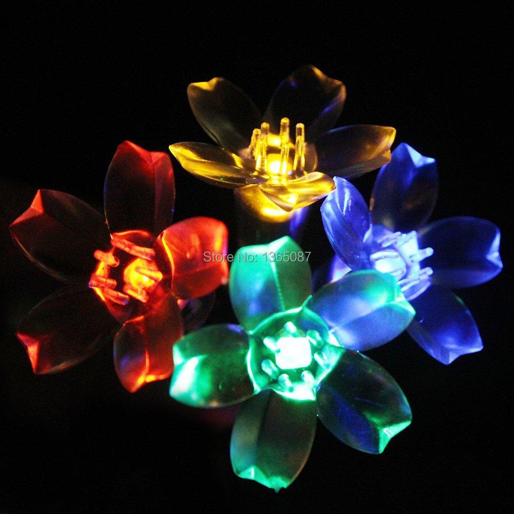 Fairy Lights Outdoor Solar : lower Outdoor Fairy String Lights Solar Powered Garden Lights 50 RGB
