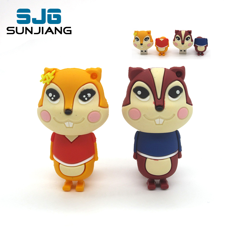 cute cartoon squirrel Pen Drive USB Flash Drive PenDrive 64G/8GB/16GB /32G/4G Memory Flash card High Speed usb stick lovely gift(China (Mainland))