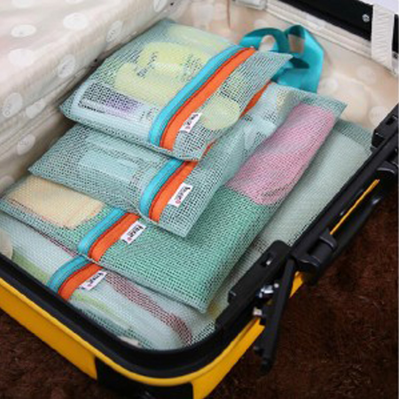 4 Pcs Suit Thickened Mesh Multi-function Hand Wash Makeup Travel Grid Storage Bag Organizer High Quality Wholesale SN002(China (Mainland))