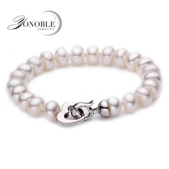 White Natural Freshwater Pearl bracelet for women real pearl bracelet 9-10mm mon birthday gift top quality multi color