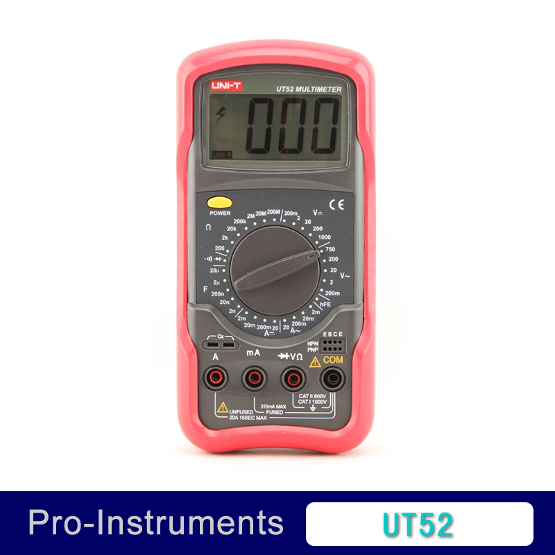 UNIT Digital Multimeter 1000V 20A DMM AC DC Voltmeter Resistance Diode test UT52 Palmsize Max Holster free shipping<br><br>Aliexpress