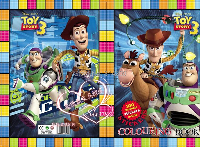 Free Shipping, 21*28cm Toy Story Design-Kids Cartoon Coloring Books with Stickers/ Stickers & Drawing Book/Kids Gift, 8 pcs/lot